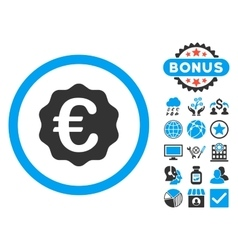 Euro Reward Seal Flat Icon with Bonus vector image