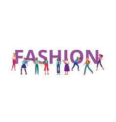 fashion banner with people cartoon characters flat vector image