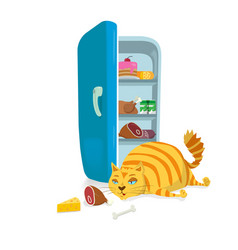 Fat cat steal food from the refrigerator vector