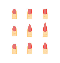 female red nails fashion shape or forms manicure vector image