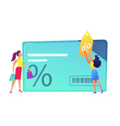 Female shopper sales woman with discount tag and vector