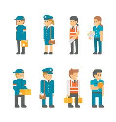 flat design delivery messenger staffs vector image