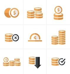 Flat icon Coins Icons Set Design blacak color vector