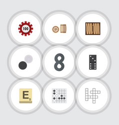 flat icon games set of poker lottery guess and vector image