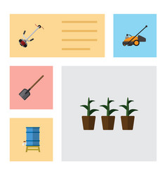 Flat icon garden set of container grass-cutter vector