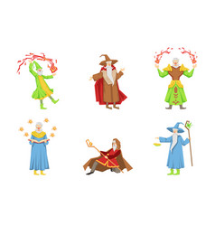 flat set magicians in different actions vector image