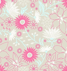 Floral embroidery design in a seamless pattern vector image