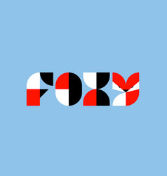Foxy lettering with abstract geometric fox vector