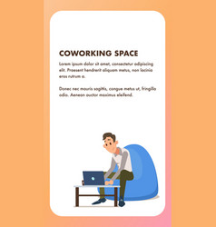 Freelance worker with laptop in beanbag chair vector