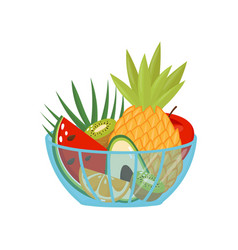 Fresh ripe fruits in a glass bowl healthy vector