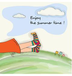 Funny feet on green grass watercolor summer vector
