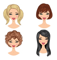 Girls faces vector