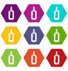 Glass bottle icons set 9 vector