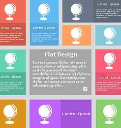 Globe icon sign Set of multicolored buttons with vector