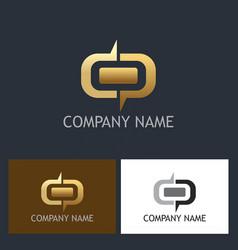 gold shape round company logo vector image