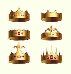 Golden crown of kingdom isolated set vector