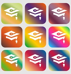 Graduation icon sign nine buttons with bright vector