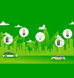 Green power environment city electric car concept vector