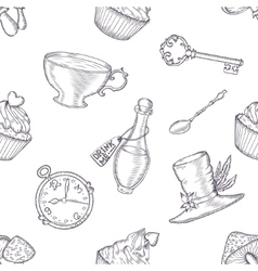Hand drawn wonderland seamless pattern vector