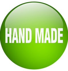 hand made green round gel isolated push button vector image