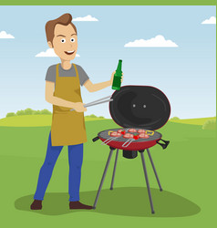 Handsome man cooking barbecue grill outdoors vector