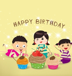 Happy Birthday card with kids and cupcakes vector