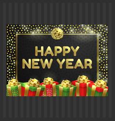 Happy new year christmas card gift box ribbon vector