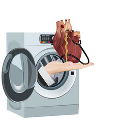 Heart organ cleaning washer vector
