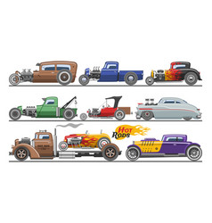 Hot rods car vintage classic vehicle and vector
