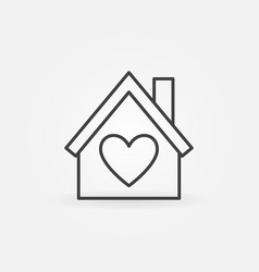 house with heart outline icon love house vector image