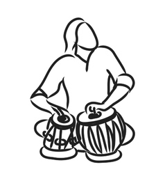 Indian musician playing tabla vector image