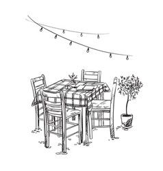 Italian bistro cosy cafe table and chairs vector