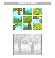 jigsaw puzzle forest owl squirrel vector image
