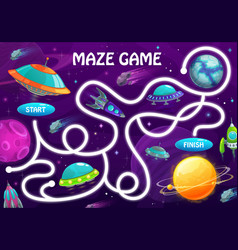 Labyrinth maze game space planets and shuttles vector