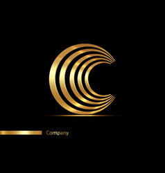 letter c gold logo design golden graphic font vector image