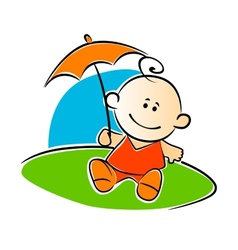 Little baby holding a sunshade or umbrella vector