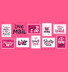 love mail stamp hand drawn love romantic vector image
