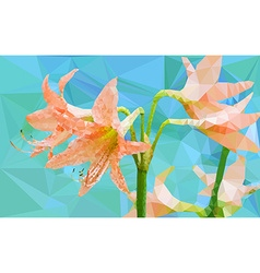 Low poly geometric of Amaryllis flower vector