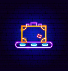 Luggage transport neon sign vector