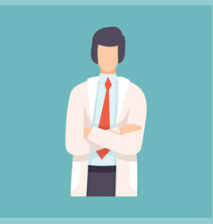 Male doctor standing with folded hands vector