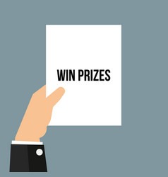 Man showing paper win prizes text vector