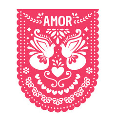 Mexican papel picado fiesta banner card vector