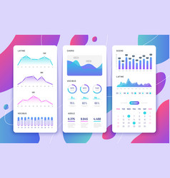 mobile phone ui control panel with statistics vector image