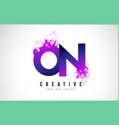 On o n purple letter logo design with liquid vector