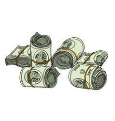 one hundred dollars bundle banknotes gum vector image
