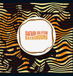 Orange striped safari glitch background vector