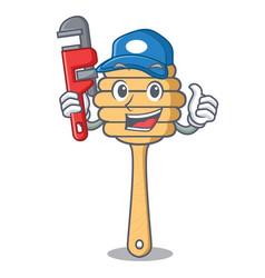 Plumber honey spoon mascot cartoon vector