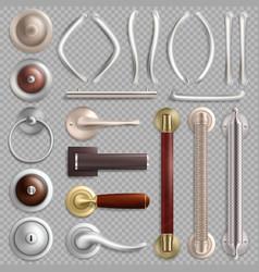 Realistic metal door handles isolated vector