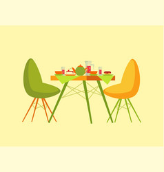 Restaurant table with dessert dishes and beverage vector