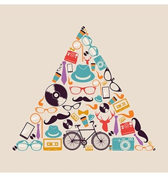 Retro hipsters icons triangle vector